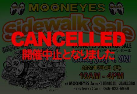 7月4(日) Sidewalk Sale 開催中止のお知らせ